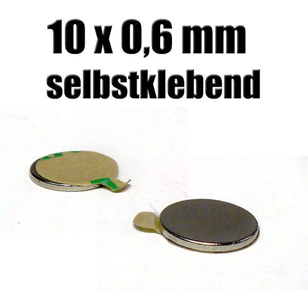 Magnet 10 x 0,6 mm selbstklebend Zauberzubehör