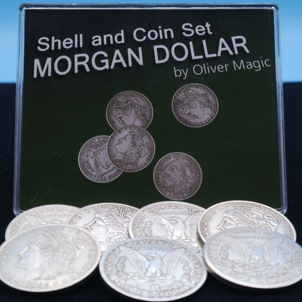 Shell and Coin Set Morgan Dollar by Oliver Magic Zaubertrick mit Münzen